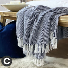 Luxury Large Navy Blue White Eco Cotton Herringbone Soft Bed Sofa Blanket Throw