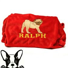 Pug Hand Made Embroidered Personalised Pug Dog Blanket 8 Colours sizes 100 x 70