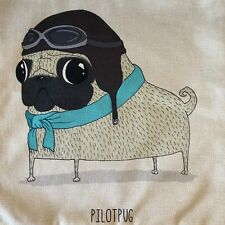 Pug Cushion Cover - Pilot Pug Design - 45cm x 45cm