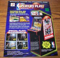 NBA Play By Play Arcade FLYER Original NOS Video Game Basketball Artwork 1998