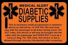 Safety Orange Carry-On Diabetic Supplies  Bag Tag - TSA - CPAP BiPAP APNEA POC