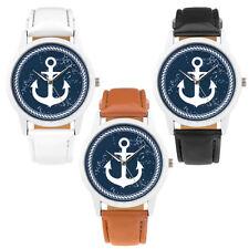 Armbanduhr mit Anker Maritim Vintage Style Unisex Quarzuhr PU Leder Uhr