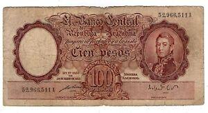 ARGENTINA NOTE 1951 100 PESOS L. 12155 Series A P#267b - B#2040