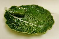 "LARGE Portugal MAJOLICA Bordallo Pinheiro 13"" Leaf Leaves Chip Dip Platter"