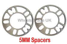 2 x 5MM ALLOY WHEEL SPACERS SHIMS SPACER CAR UNIVERSAL 5 STUD FIT