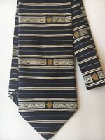 VERSACE Mens 100% Silk Tie. Navy And Gold. Made In Italy