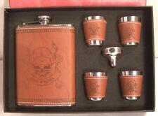 SKULL X  BONES LEATHER FLASK SET W SHOT GLASS liquor drinking hip cross bone NEW