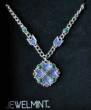 JEWELMINT Kate Bosworth Byzance Cobalt/Emerald Enamel Pendant Necklace NIB