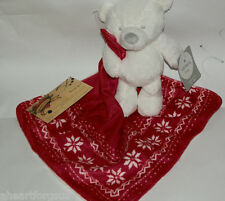 SECURITY BLANKET Carters Bear Full Body Red Fair Isle Lovey rattle Girl or Boy