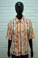 Camicia VESTE Blusa Donna XL Woman Manica 3/4 Righe Cotone Chemise Hemd Shirt