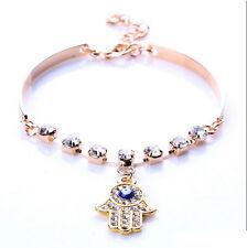 Hamsa Hand Charm Bangle Bracelet Evil Eye Protect GOLD RED Protection Jewelry
