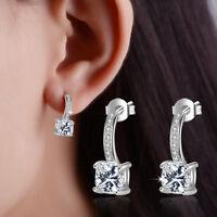 925 Sterling Silver Cushion Clear Zircon Ear Stud Drop Earrings Women's Jewelry