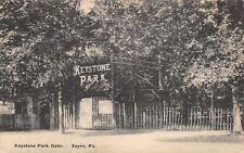 Sayre Pennsylvania~Keystone Park Gate~Picket Fence~Free Admission~1912 B&W PC