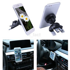 360° Round CD/DVD Car Slot Air Vent Holder Magnetic Stand Mount For Mobile Phone