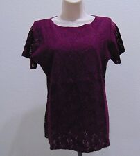 New Ellen Ashley Women's Lace Blouse Short Sleeve Burgundy XL 100% Nylon