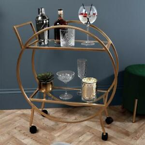 Round Gold Drink Trolley With Glass Shelves Mini Bar Cocktail Table Drink Table