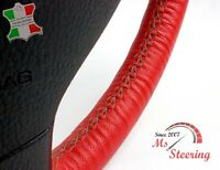 FOR FORD RANGER 05-11 RED LEATHER STEERING WHEEL COVER, DARK GREY 2 STIT