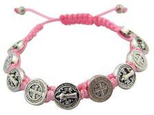 Saint St Benedict Silver Tone Medal on 7 Inch Adjustable Pink Cord Bracelet