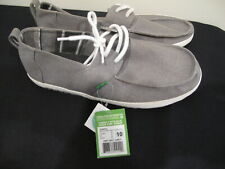 Sanuk Admiral Grey Gray Lace Up Boat Shoes Sidewalk Surfers Casual Slip On New