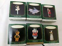 Lot of 6 various Hallmark Miniature Christmas Ornament Alice, kitty, airplane +