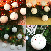 6 Pack of White Star Snowball Christmas Tree Baubles Decorations Tree Ornament