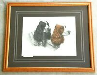 LEON DANCHIN Antique Hand Signed Etching COCKER SPRINGER SPANIEL HUNTING DOGS