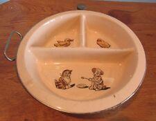 VINTAGE K RUBGER BABY HOT WATER HEAT UP CERAMIC FEEDING DISH CHROME PLATED