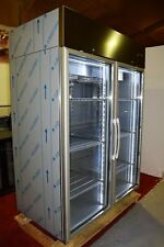 Double Door Upright Display Freezer LED Stainless Shop Restaurant f1400