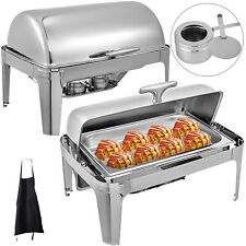 2 Pack Catering Stainless Steel Chafer Chafing Dish Sets Roll Top 8Qt Buffet
