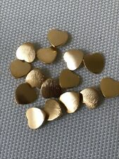 "Vintage 15 Pcs France Gaspari Lab Gold Tone Heart Shaped Metal Buttons 1/2"" New"