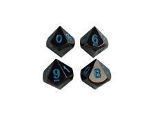 4 Pack of D10 - Icy Doom | Shiny Black Nickel with Blue Numbers Metal Dice Set
