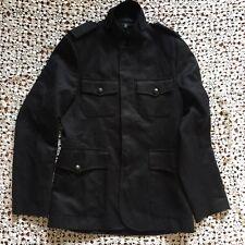Zara Man Mens Trench Coat Jacket US M Black Belted Sport