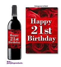 HAPPY 21st BIRTHDAY ROSES DESIGN WINE BOTTLE LABEL GIFT