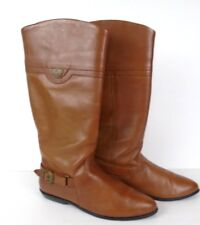 Womens Nicole Mid Calf Brown Boots Size 7.5M Buckle Accent