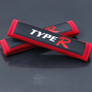 Red JDM TYPER Seat Belt Cover Shoulder Pads Pairs with Embroidery Racing Logo