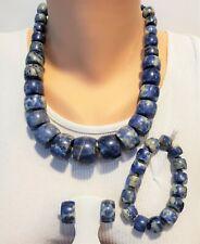 Jay King Blue set Necklace Bracelet Earrings Sterling Silver Carnival Stone