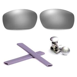 New Walleva Polarized Black Vented Lenses + Earsocks + Bolts For Oakley Jawbone