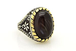 Mens 925 Sterling Silver Ring 11.5 Black Agate