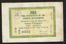 STRAITS SETTLEMENTS 10 CENTS P6B 1918 AG.TREASURER RARE  SINGAPORE MALAYSIA NOTE