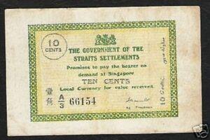 STRAITS SETTLEMENTS 10 CENTS P-6 1918 Ag.Treasurer RARE  SINGAPORE MALAYSIA NOTE