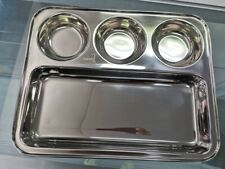 4 x Stainless Steel Plate Thali Lunch Dinner Dosa Plate Compartment Indian Plate