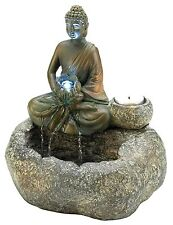 Water & Flame ** BUDDHA w/ LED LIGHT-UP & TEALIGHT TABLETOP WATER FOUNTAIN * NIB