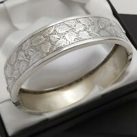 Solid Silver Victorian Antique Aesthetic 1/2 Engraved Ivy Design Bangle Bracelet