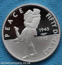 1995 Marshall Islands Fifty Dollars Silver Proof Crown Coin 1945 Peace