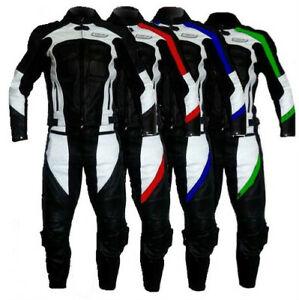 2 partie COMBINAISON MOTO EN CUIR Veste et pantalon avec protections approuvées