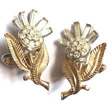 Crown Trifari Alfred Philippe Vintage Cristal Estrás Pendientes