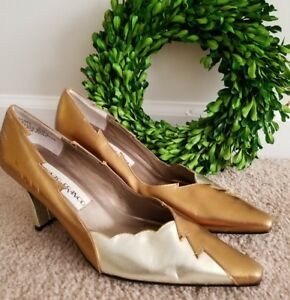 ALONZO & FRANCO Leather Witch Edge Gold & Silver High Heels Shoes Sz 6 👣ks2
