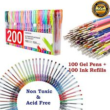 200 Color Gel Pen Set Glitter Coloring Pens Metallic Pastel Neon +100 Ink Refill
