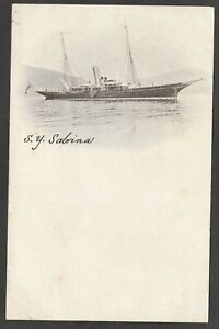 Postcards x2 Steam Yacht Sabrina early Ship shipping boat with The Skipper early
