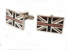 Thin Red Line Cufflinks Fire and Rescue Remembrance Subdued Union Jack